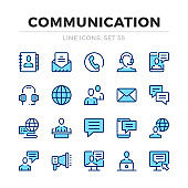 Communication vector line icons set. Thin line design. Modern outline graphic elements, simple stroke symbols. Communication icons