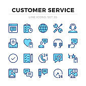 Customer service vector line icons set. Client support, online help. Thin line design. Modern outline graphic elements, simple stroke symbols. Customer service icons