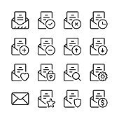Email line icons set. E-mail interface, mail app, UI, letter. Modern graphic design concepts, simple linear outline elements collection. Thin line design. Vector line icons