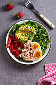 Tuna strawberries avocado egg and spinach salad. Tuna fish salad
