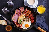 English or Irish breakfast with sausages, bacon, eggs, tomatoes, mushrooms and beans on frying pan