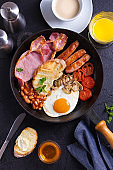 Full English or Irish breakfast with sausages, bacon, eggs, tomatoes, mushrooms and beans.