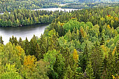 Aulanko forest park, Hameenlinna, Finland. Picturesque view from Aulangonvuori Hill. Golden autumn