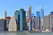Famous skyscrapers of Lower Manhattan and East River. New York City