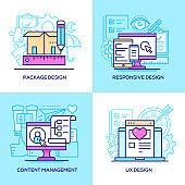 Design services - set of line design style colorful illustrations
