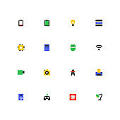 Technology concepts - colorful material design icons set