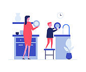 Mother and son washing dishes flat vector illustration