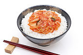 Korean food, cooked rice with kimchi