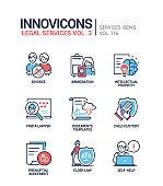Legal services - line design style icons set