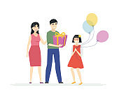 Happy birthday - cartoon people characters isolated illustration