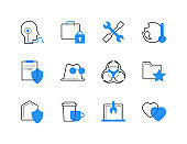 Technology and legal services color icons set