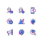 Business and social media - line design style icons set