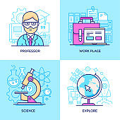 Business and online education - set of line design style colorful illustrations