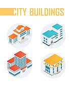Public city buildings - modern vector colorful isometric elements