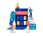 House for sale - colorful flat design style illustration