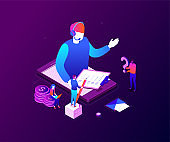 Technical support - modern colorful isometric vector illustration