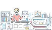 Psychologist at work - modern line design style illustration