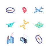 Traveling and location - modern vector colorful isometric elements