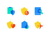 Insurance and security - flat design style icons set