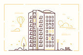 Modern building - line design style vector illustration