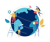 Global business - flat design style colorful illustration