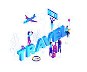 Travel concept - modern colorful isometric vector illustration