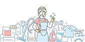 Cleaning service - modern line design style illustration