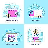 E-commerce - set of line design style colorful illustrations