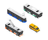 Public transport vehicles - modern vector isometric colorful elements