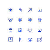 Business concepts - modern colorful line design style icons set