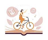 Listening to audiobooks - flat design style illustration