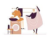 Couple doing laundry - flat design style colorful illustration