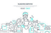 Cleaning service - modern line design style web banner