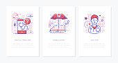 Healthcare concept - line design style banners set