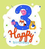 Children 3rd birthday greeting card vector template