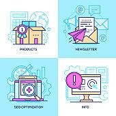 Marketing - set of line design style colorful illustrations