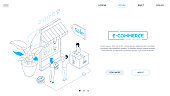 E-commerce - line design style isometric web banner