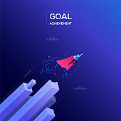 Goal achievement - modern isometric vector web banner