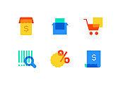 E-commerce - modern flat design style icons set