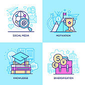 Marketing and education - set of line design style colorful illustrations