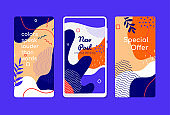 Colorful mobile screen templates - set of modern vector backgrounds