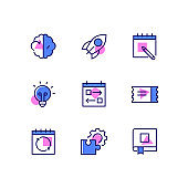 Business and management - line design style icons set