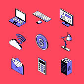 Office and technology - vector isometric icons set