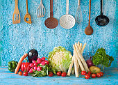 Various vegetables, kitchen utensils, cooking concept,healthy eating, dieting concept