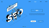 Search engine optimization landing page vector template