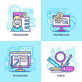 Business - set of line design style colorful illustrations