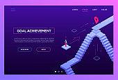 Goal achievement - modern isometric vector website header