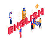 English language - modern colorful isometric vector illustration