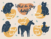 What do animals say - modern vector illustration