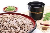 Japanese Zaru soba noodles on wooden plate